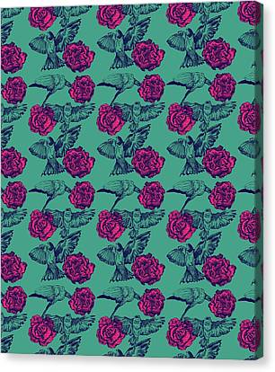 Rose And Swallows Canvas Print