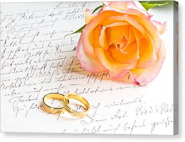 Rose And Two Rings Over Handwritten Letter Canvas Print