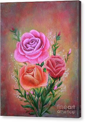 Canvas Print featuring the painting Rose Bouquet by Kristi Roberts