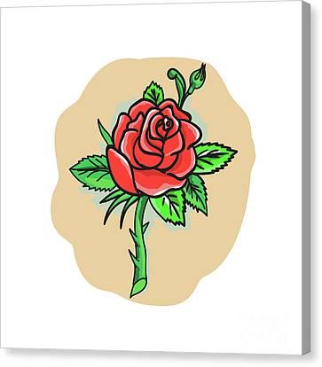 Rose Flower Bud Leaves Thorn Tattoo Canvas Print by Aloysius Patrimonio