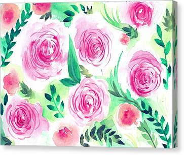 Pink Peach Rose Flower In Watercolor Painting Canvas Print by My Art