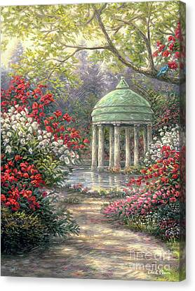 Canvas Print - Rose Garden Gazebo by Chuck Pinson