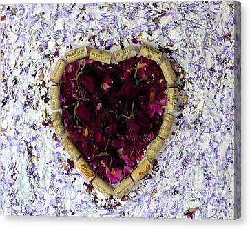 Rose Heart Cork Collage Canvas Print by Marlene Rose Besso