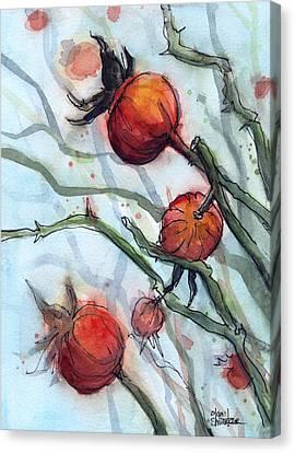 Rose Hips Abstract  Canvas Print by Olga Shvartsur