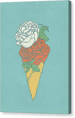 Rose Ice Cream Canvas Print by Evgenia Chuvardina