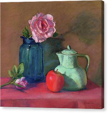 Rose In Blue Jar Canvas Print