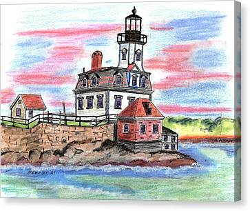 Rose Island Lighthouse Canvas Print by Paul Meinerth