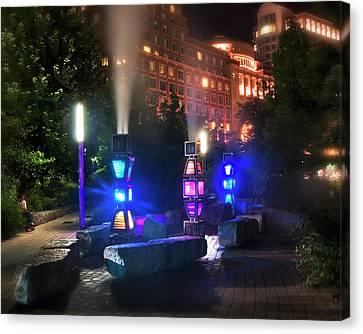 Rose Kennedy Greenway Steam Sculpture Garden At Night Canvas Print by Joann Vitali
