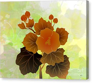 Rose Mallow Buds Canvas Print by Bedros Awak