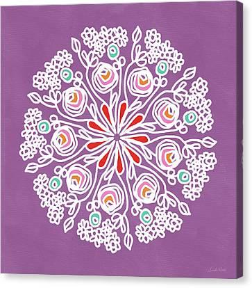 Rose Mandala 1- Art By Linda Woods Canvas Print