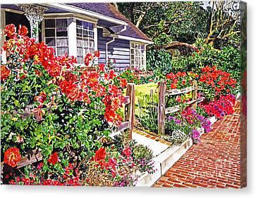 Rose Ranch House - Bel-air Canvas Print by David Lloyd Glover