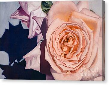 Canvas Print featuring the painting Rose Splendour by Kerryn Madsen-Pietsch