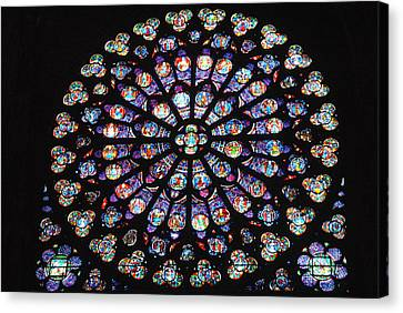 Rose Window Of Notre Dame Paris Canvas Print by Jacqueline M Lewis