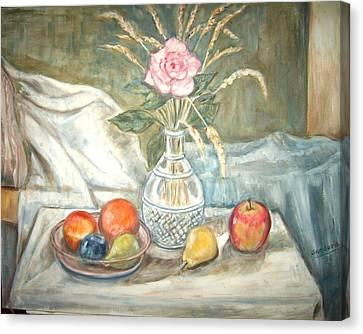 Rose With Fruit Canvas Print by Joseph Sandora Jr