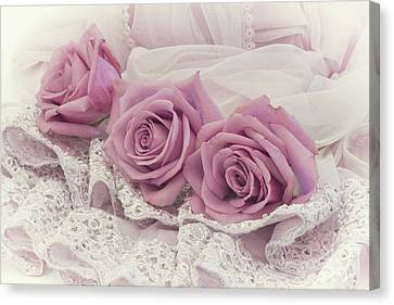 Country Magazine Decor Canvas Print - Roses And Beaded Lace by Sandra Foster