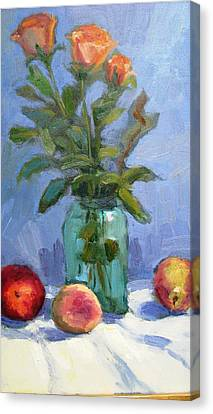 Roses And Fruit Still Life Canvas Print