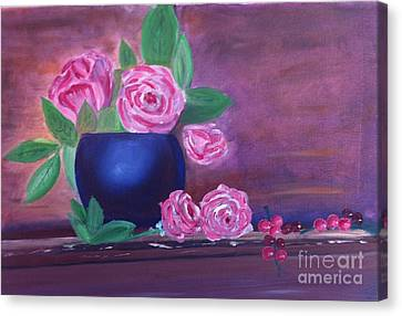 Canvas Print featuring the painting Roses And Grapes by Rod Jellison