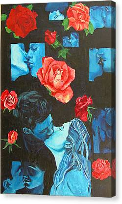 Roses And Kisses Canvas Print