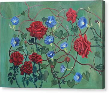 Roses And Morning Glories Canvas Print
