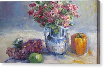 Roses And Pepper Still Life Canvas Print