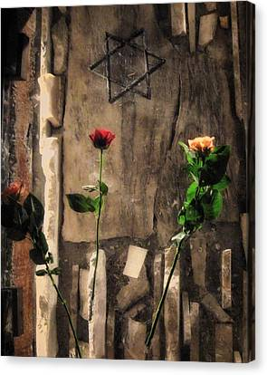 Roses And Star Of David On Glass Canvas Print