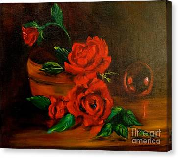 Canvas Print featuring the painting Roses Are Red by Jenny Lee