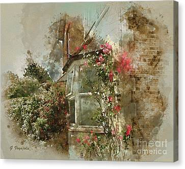 Roses Around The Window Canvas Print by George Voyajolu