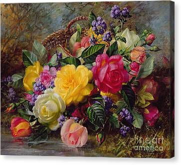 Lilies Canvas Print - Roses By A Pond On A Grassy Bank  by Albert Williams