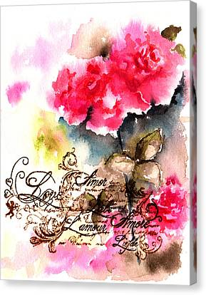 Roses Card Canvas Print by Isabel Salvador