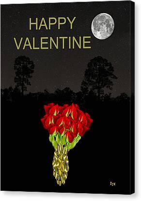 Roses Happy Valentine Canvas Print