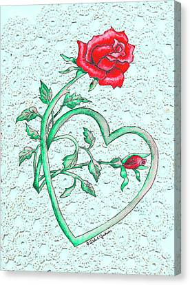 Roses Hearts And Lace Flowers Design  Canvas Print by Dale Jackson