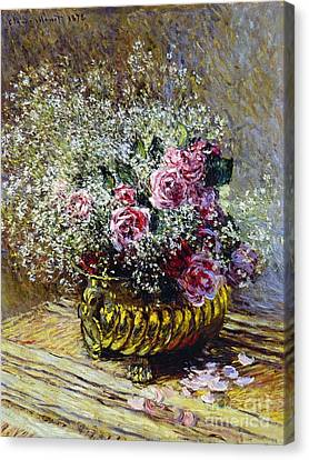 Copper Canvas Print - Roses In A Copper Vase by Claude Monet