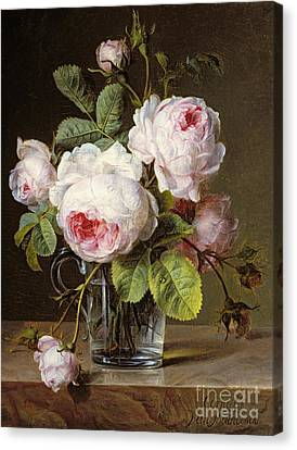 Roses In A Glass Vase On A Ledge Canvas Print by Cornelis van Spaendonck