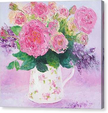 Roses In A Pink Floral Jug Canvas Print