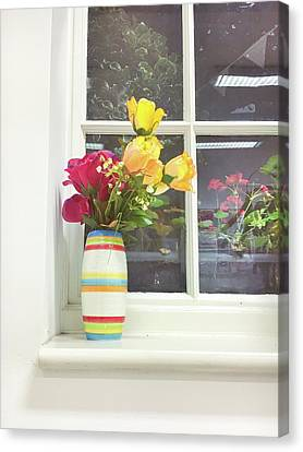 Roses In A Vase Canvas Print by Tom Gowanlock