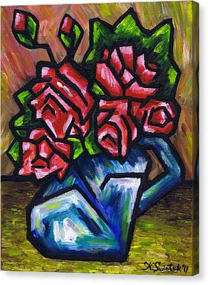 Roses In Blue Vase Canvas Print by Kamil Swiatek