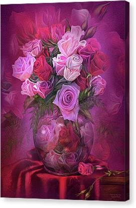 Mix Medium Canvas Print - Roses In Rose Vase by Carol Cavalaris
