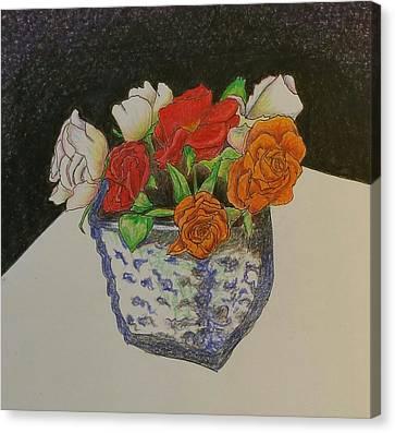 Roses In Square Vase Canvas Print by Clara Brayton