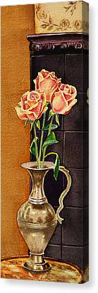 Roses In The Metal Vase Canvas Print