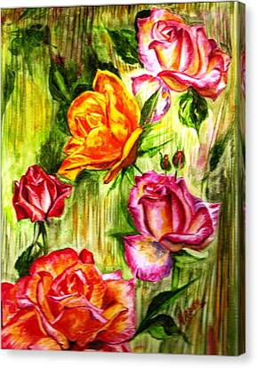 Canvas Print featuring the painting Roses In The Valley  by Harsh Malik