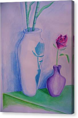 Canvas Print featuring the painting Roses  In Vase by Eric  Schiabor