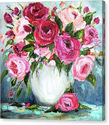 Canvas Print featuring the painting Roses In Vase by Jennifer Beaudet