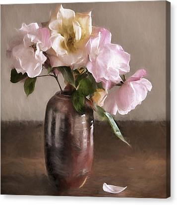 Roses In Vase Painterly Canvas Print