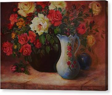 Roses N'blue Canvas Print