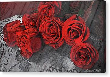 Canvas Print featuring the photograph Roses On Lace by Bonnie Willis