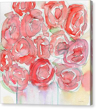 Rose Cottage Gallery Canvas Print - Roses On My Table- Art By Linda Woods by Linda Woods