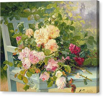 Roses On The Bench  Canvas Print by Eugene Henri Cauchois