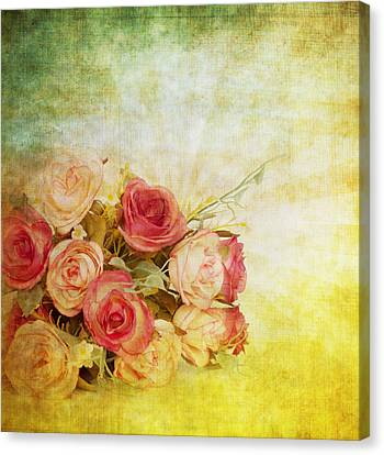 Flower Art Canvas Print - Roses Pattern Retro Design by Setsiri Silapasuwanchai
