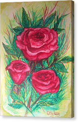 Roses Three Canvas Print by Cathy Long