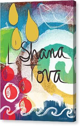 Happy New Year Canvas Print - Rosh Hashanah Sampler- Art By Linda Woods by Linda Woods